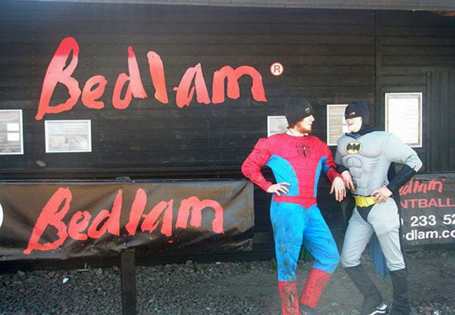Bedlam Paintball stags hen Party super heroes hero